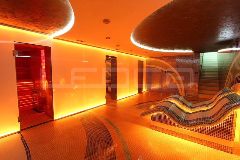 LED osvetlenie vo wellness a saune.