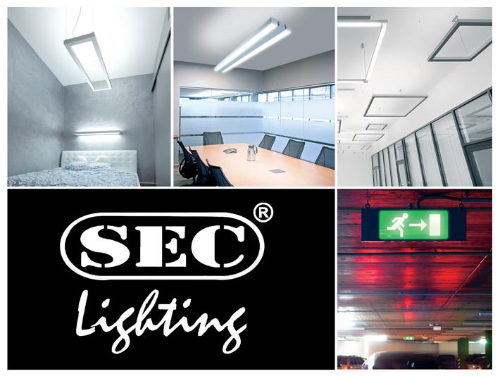 SEC Lighting moderné minimalistické svietidlá do kancelárií a verejných priestranstiev. Núdzové osvetlenie.