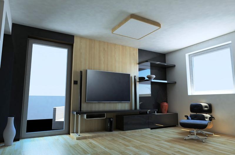 Drevené svietidlo woodLED Square použitie v interiéri