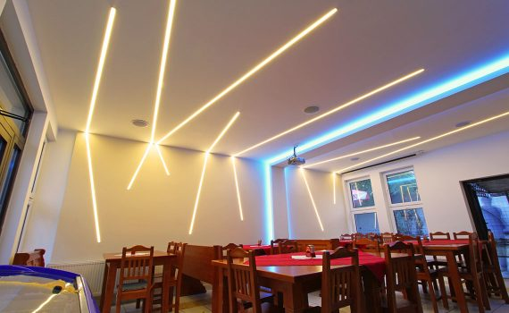 LED lines in a café