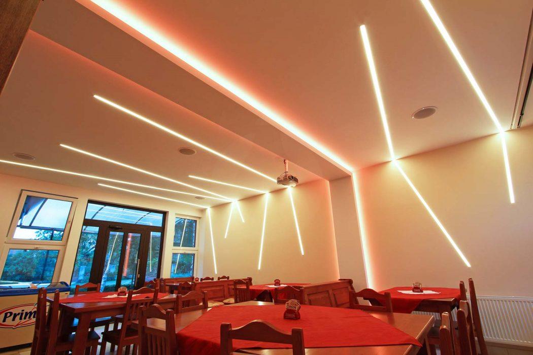 LED lines in a café