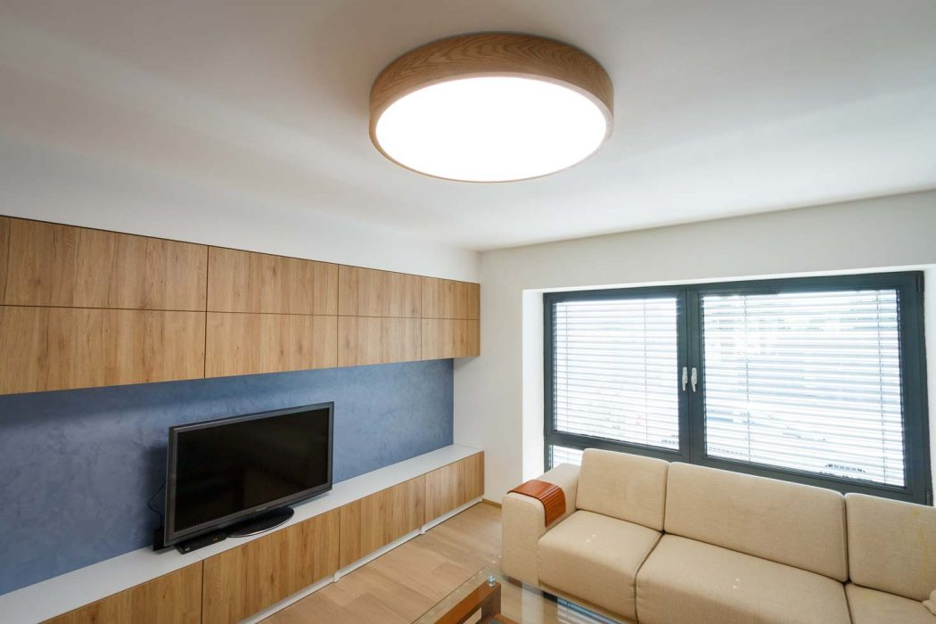 Wooden LED lamp in the living room