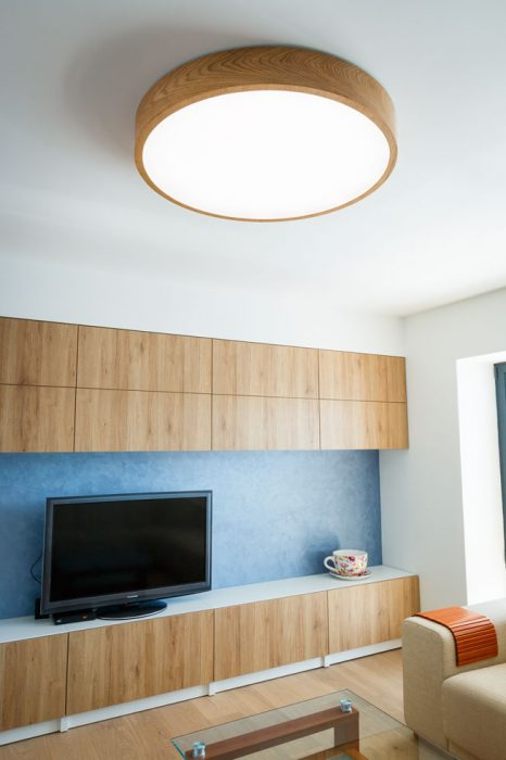 Wooden LED lamp in the living room, woodLED, Trilum