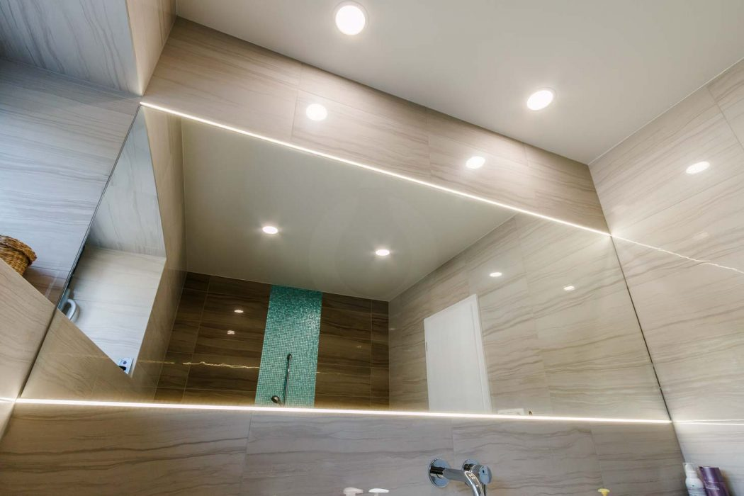 LED illumination of the bathroom, LED profile in the mirror