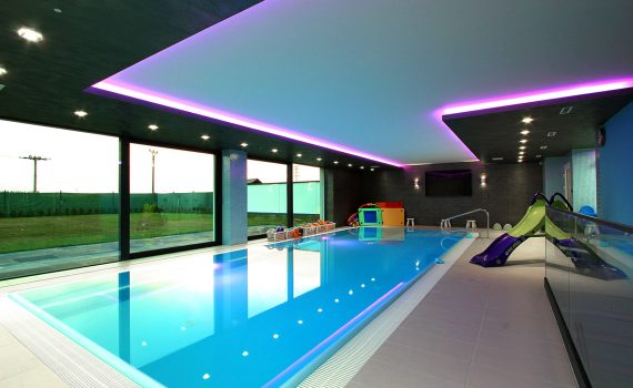 LED lighting above the pool