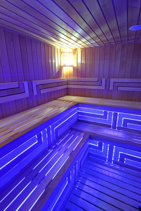 LED lighting in a Finnish sauna