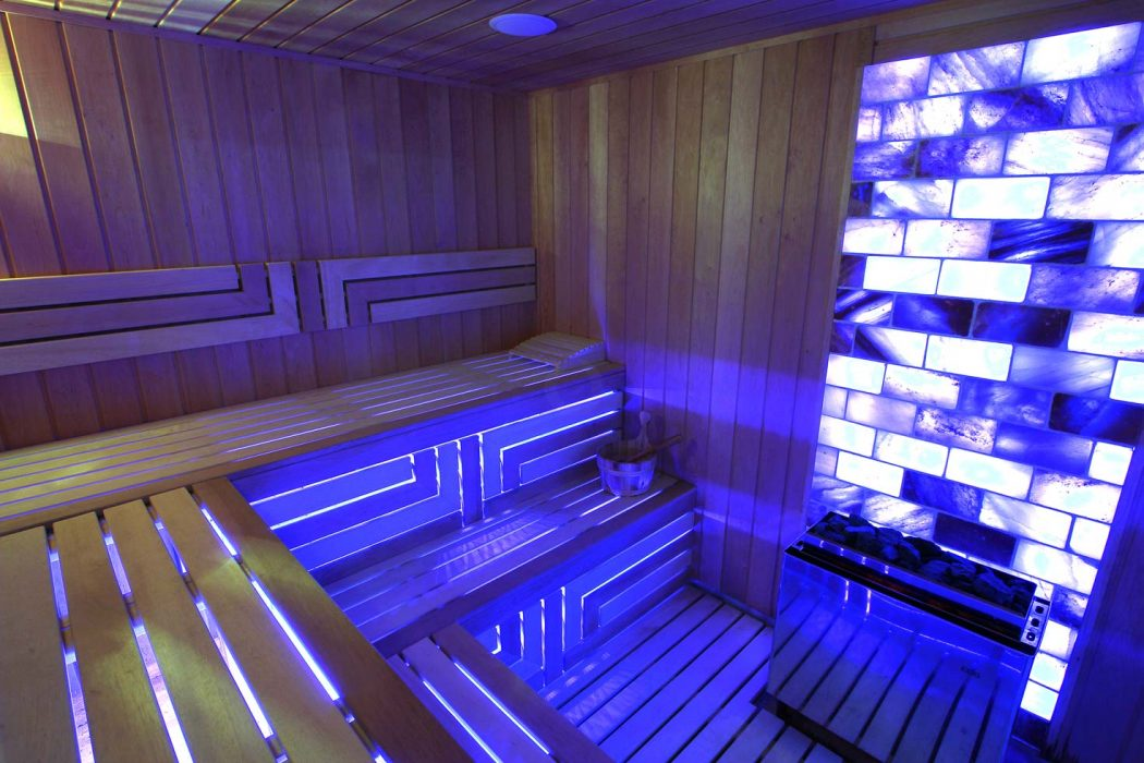 LED lighting in a Finnish sauna - salt wall