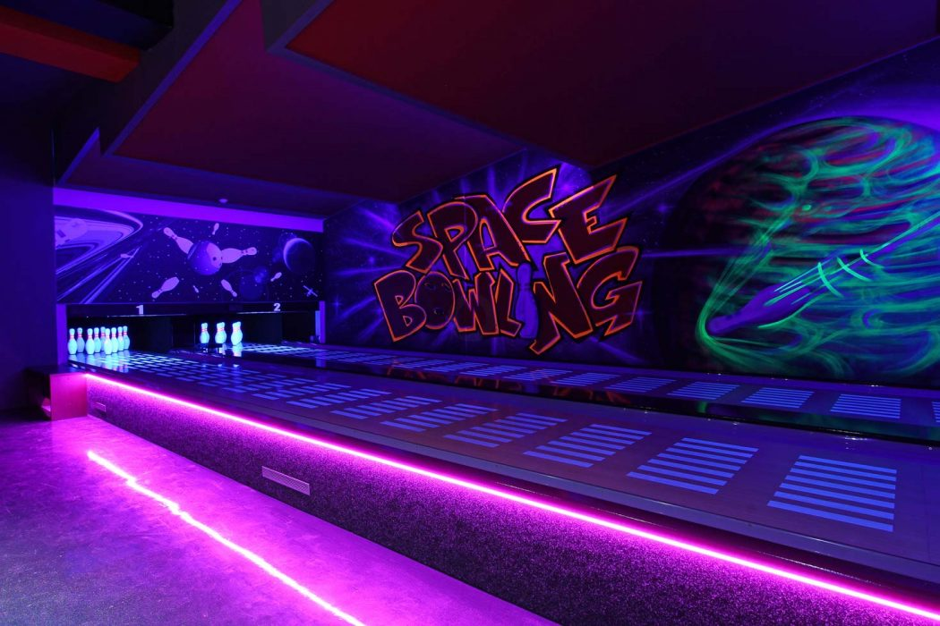 UV LED strip above the bowling alley