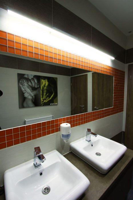 Mirror lighting on the toilets