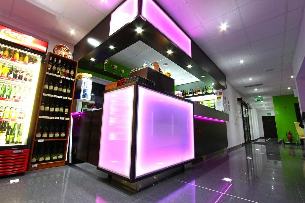 LED illumination of the bar