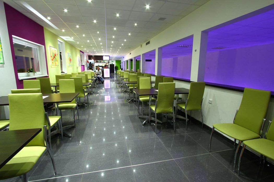LED illumination of the restaurant
