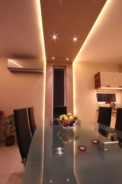 Spotlights in the dining room