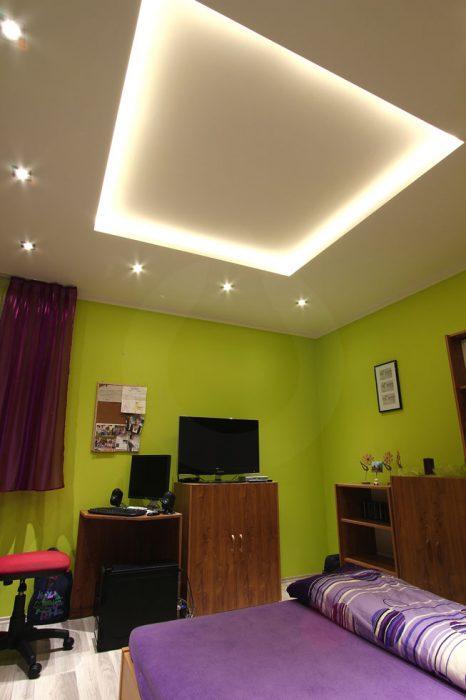 Backlit plasterboard in a room