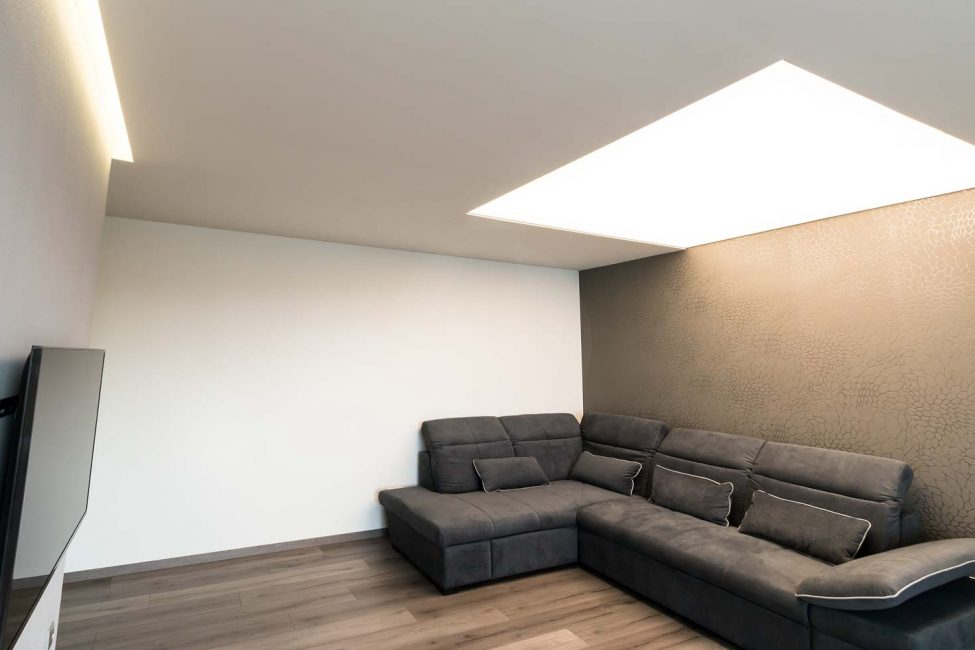 Stretched ceiling in the living room, lighted ceiling, Barrisol, LED matrix, stretched film