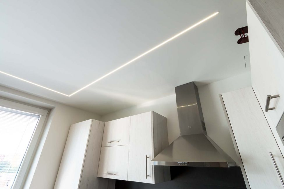 LED strip in LED profile, LED strip in plasterboard, LED line in the ceiling