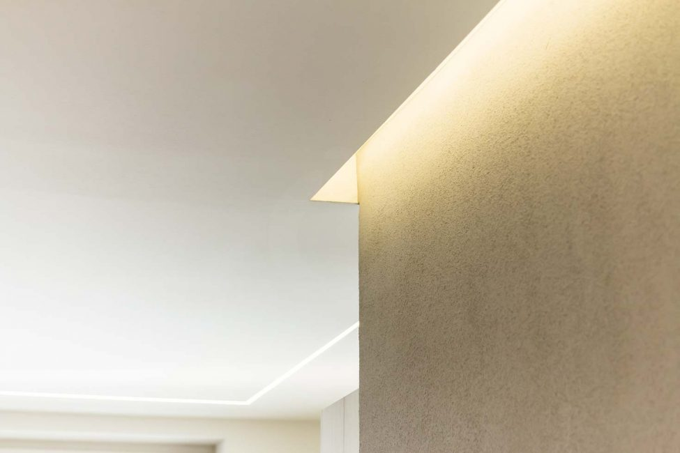 LED strip in plasterboard niche, wall lighting, LED in the ceiling
