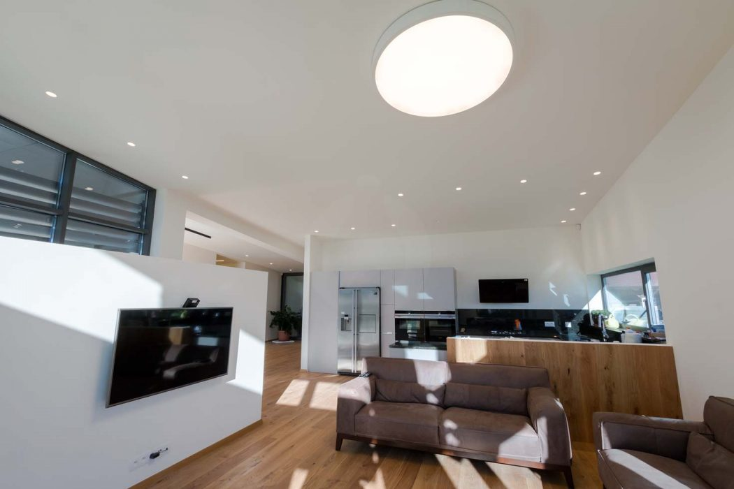 LED lighting of the  living room, woodLED, Trilum, spotlights in the ceiling, spotlights in the kitchen