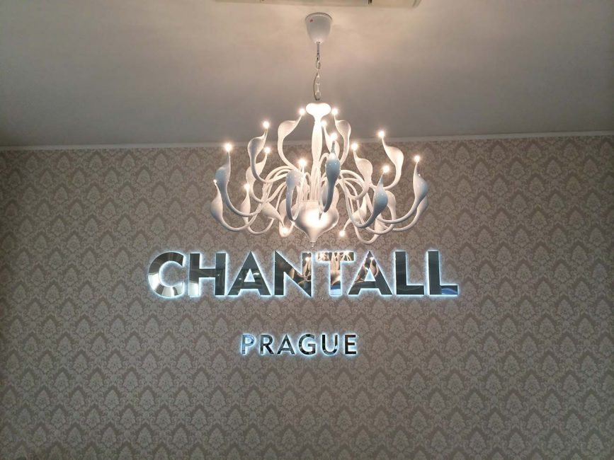Illumination of the shop with a chandelier
