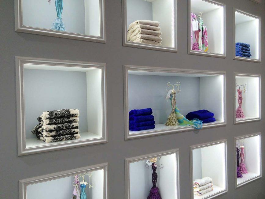 LED illumination of cubicles, LED strips in showcases