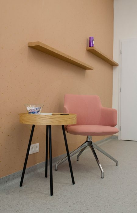 Illumination of the outpatient clinic, wooden furniture in the oupatient clinic