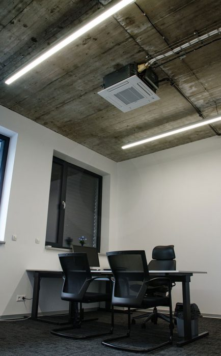 LED line lights in an office