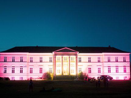 LED osvetlenie kaštiaľa Dolná Krupá, RGB svetidlá exteriérové, fasádne osvetlenie, RGB na fasáde, iluminácia budovy, Lestival