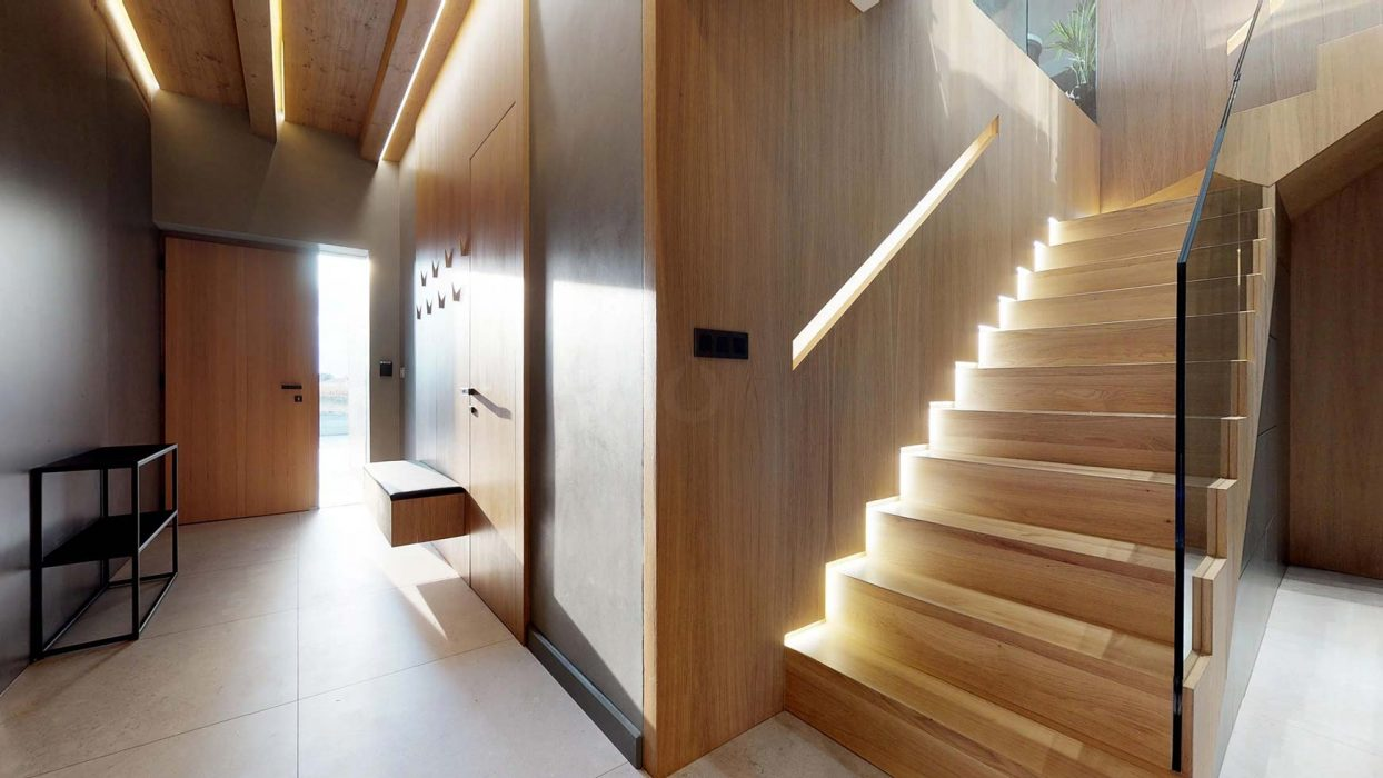Stair lighting, LED strip in the handle. in wooden lining, backlighting of wooden lining
