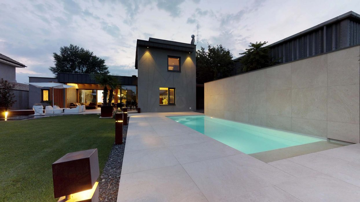 facade lighting, pool lighting, pool lights, pillar lights, LED illumination of the garden