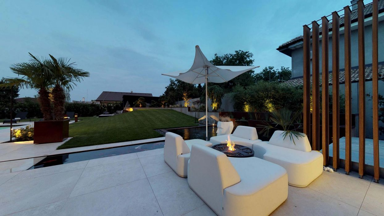 evening lighting of the terrace, LED lighting of the terrace, illumination of the garden, Vibia in the garden