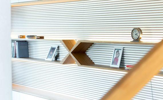 Backlighting of wooden shelves, LED strip behind the shelves