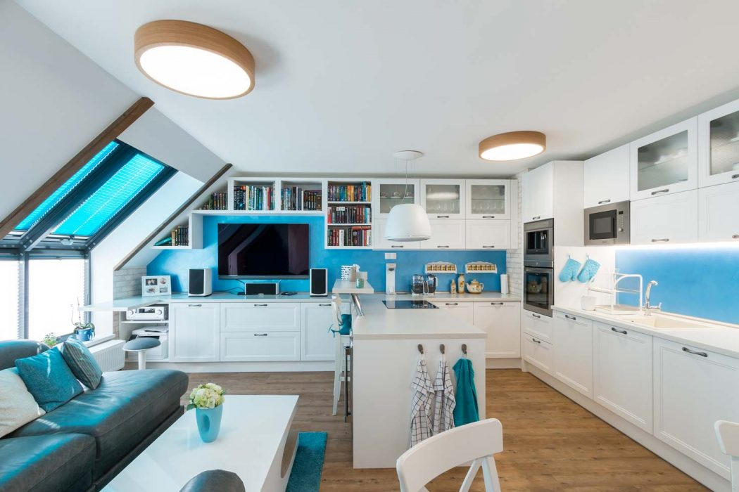 Seaside style, wooden lamps in the kitchen, woodLED Round