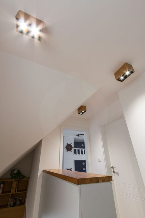 Hallway lighting, wooden lights in the hallway, woodLED Spot, Trilum