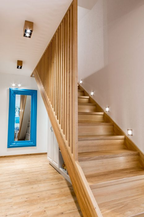 LED stair lighting, stair lights, wooden staircase with LED