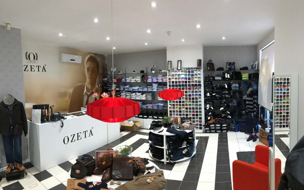 LED illumination of a shop, spotlights in the shop, recessed LED lights in the shop