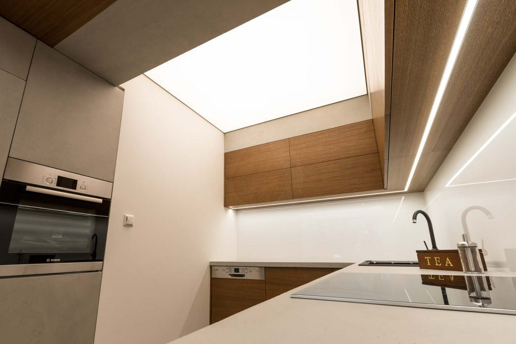 Barrisol in a kitchen, light ceiling in a kitchen, stretched film with LED matrix