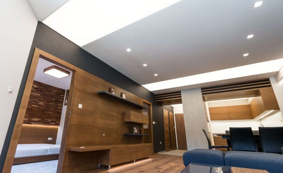 Light ceiling, stretched film, Barrisol, living room lighting with spotlights, trimless lamps, frameless spotlights
