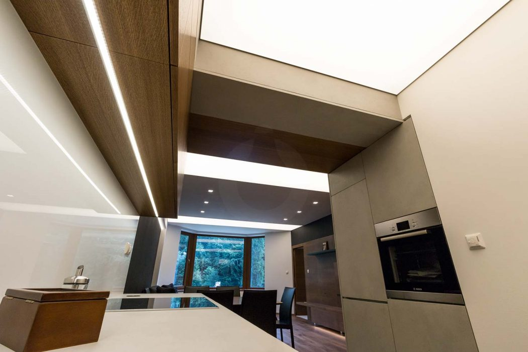 LED lighting in the kitchen, LED strip on the kitchen unit, worktop lighting