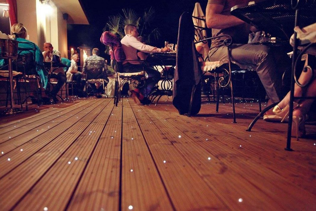 starry sky on the terrace, starry sky in the floor, optical fibers