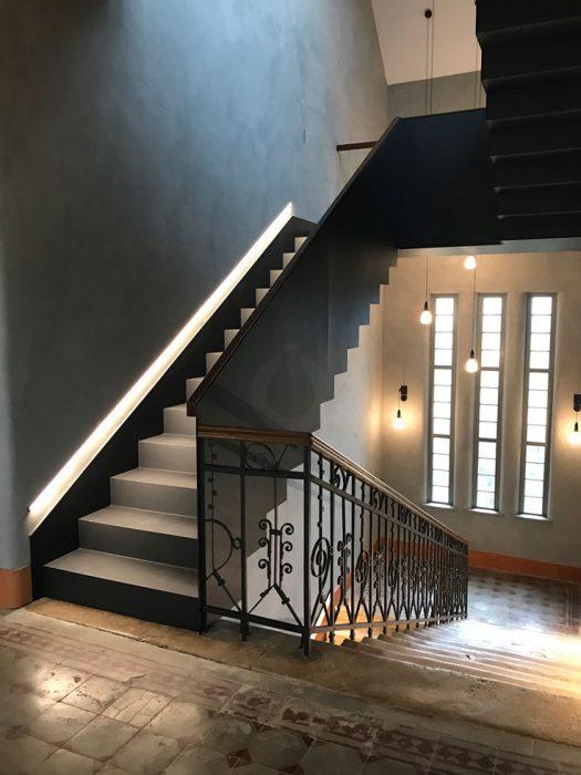 staircase illumination, LED profile on the staircase, pendant light on the staircase