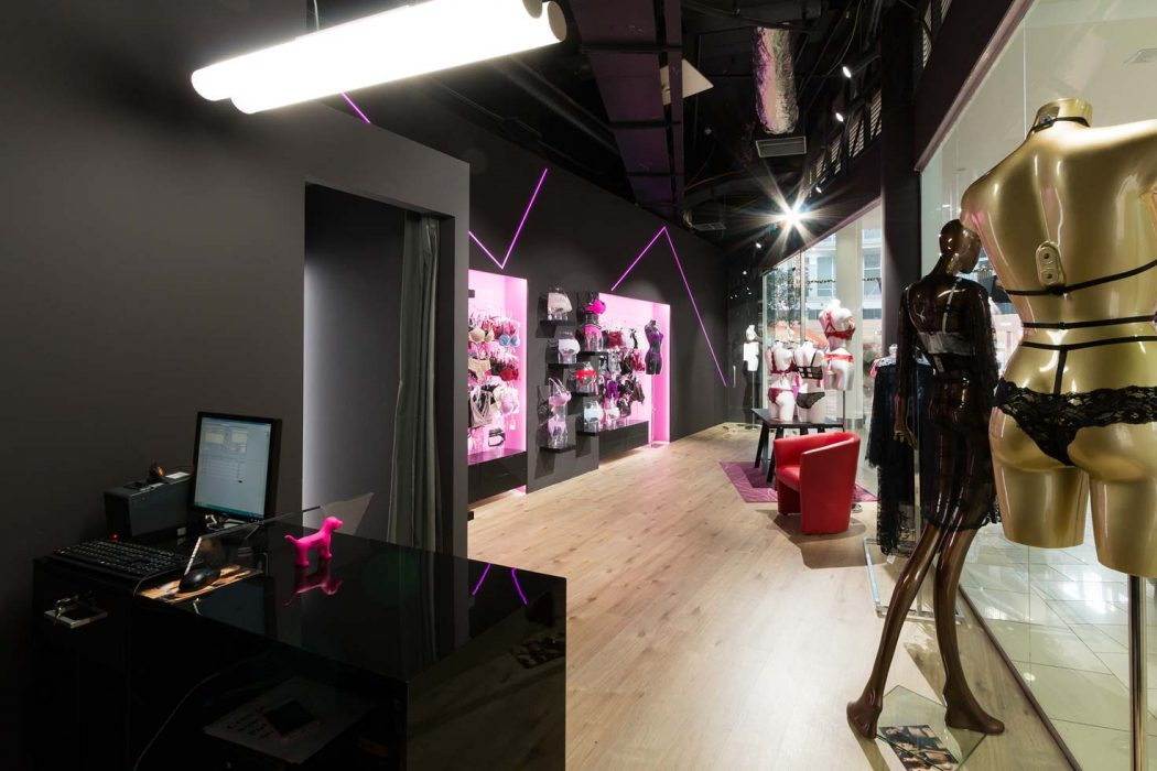 LED lighting of a shop, track lights, lighting of sales cubicles, shelves, LED strip in the shop, light above the counter
