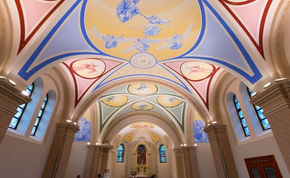 LED lighting of a church, church interior lighting, DALI LED lamps, church lighting reconstruction