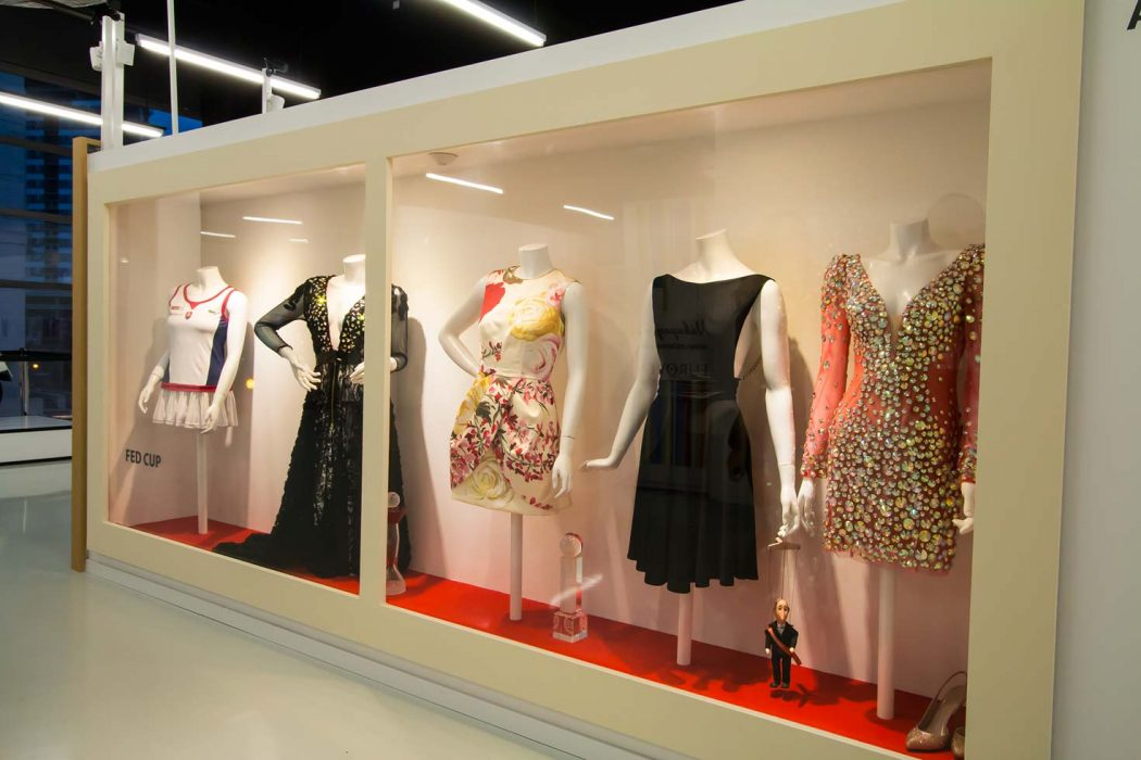 Spotlight illumination of showcases, LED illumination of dresses, LED illumination of the shop