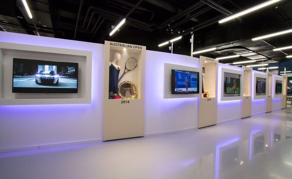 Backlit TV, exhibition lighting, plasterboard backlight