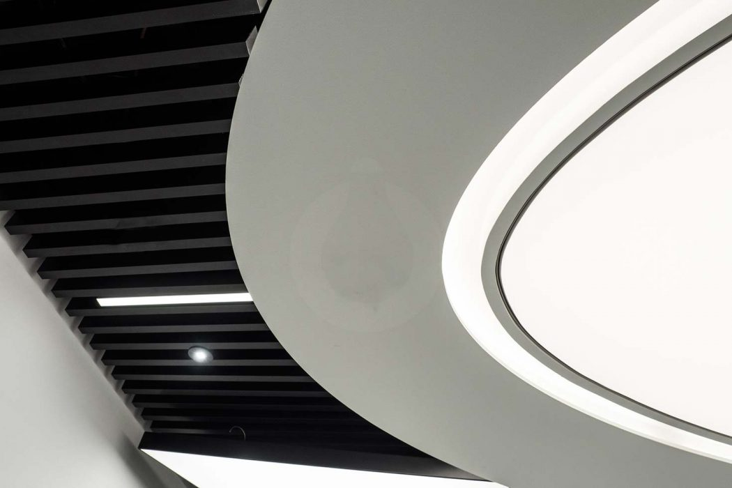 Detail of light ceiling, LED plasterboard backlight