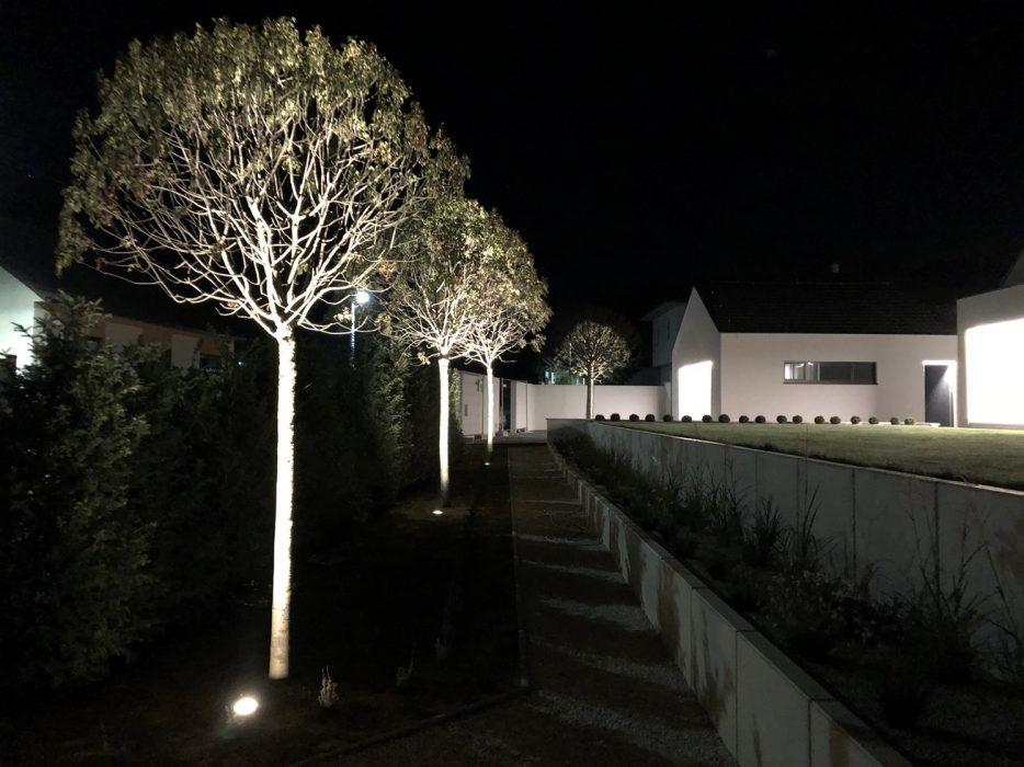 LED osvetlenie stromu, svietidlo pod stromom