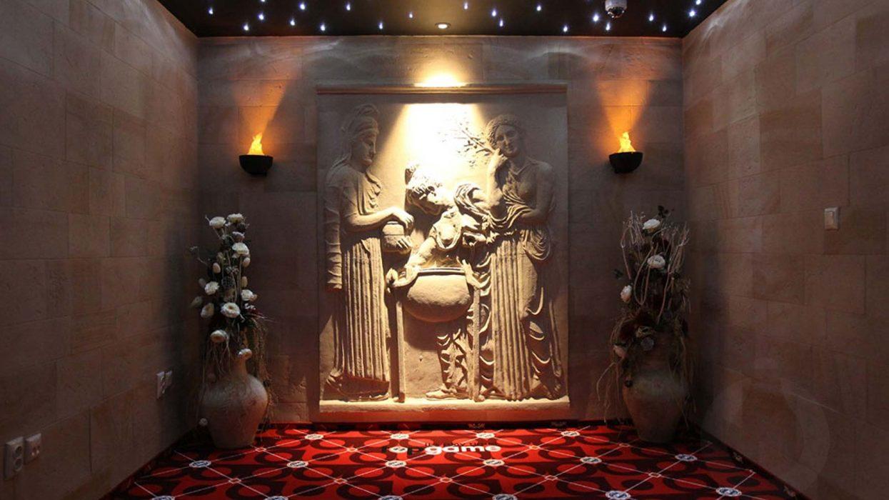 umelé LED fakle, osvetlenie antického kasína